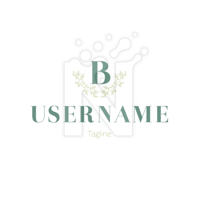Vintage branch flower b blossom leaf Fashion Logo by Ryoko Hotani on white background
