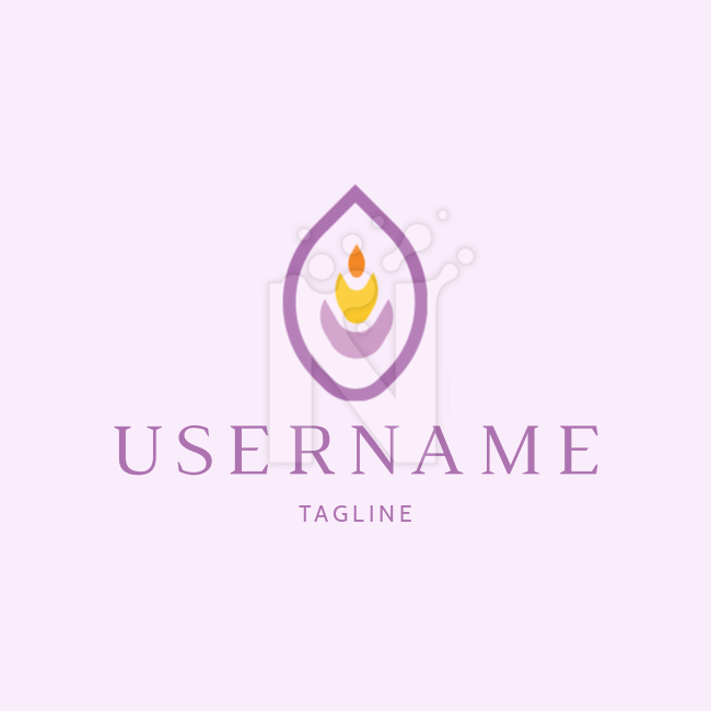 Modern fire candle yoga lotus Beauty & Spa Health & Medical Logo by Karina Duca on colored background