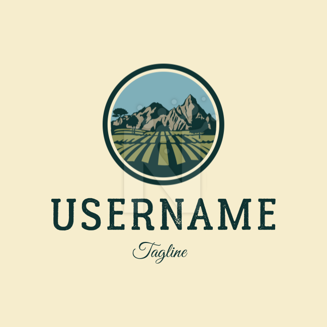 Vintage nature farmer farm mountain environment field Agriculture & Outdoors Logo by Dmitry Savin on colored background